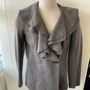 Lafayette 148 Brown Soft Wool Ruffle Front Blazer